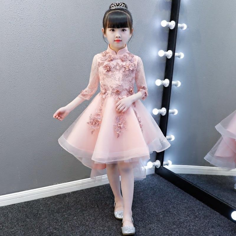 Fille anniversaire Piano fête Costume bébé Cheongsam enfants chinois nouvel an robe dentelle Qipao rose élégant princesse robes Chipao