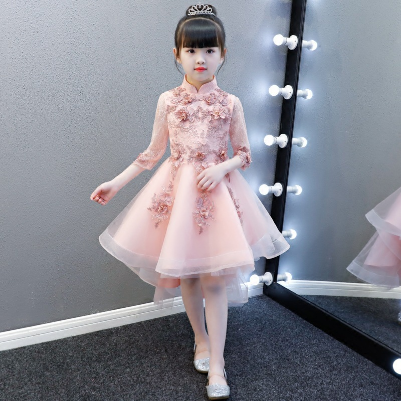 Girl Birthday Piano Party Costume Baby Cheongsam Kids Chinese New Year Dress Lace Qipao Pink Elegant Princess Dresses Chipao