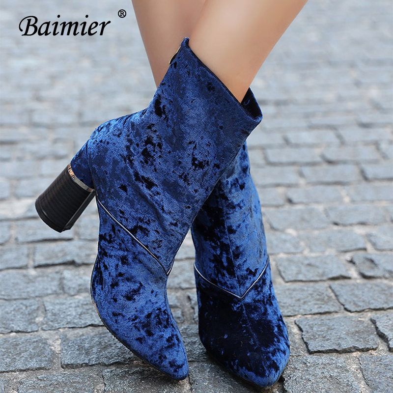 Baimier Winter Velvet Ankle Boots For Women Chunky Heel Women Sock Boots Pointed Toe High Heels Boots Women Luxury Shoes Woman 4
