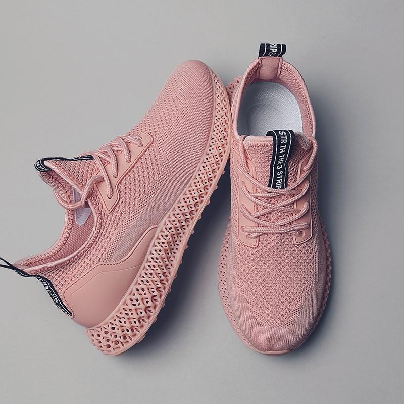2019 haute qualité femmes baskets 4D semelles flyknit mesh respirant extérieur chaussures femme décontractées solide blanc rose vert