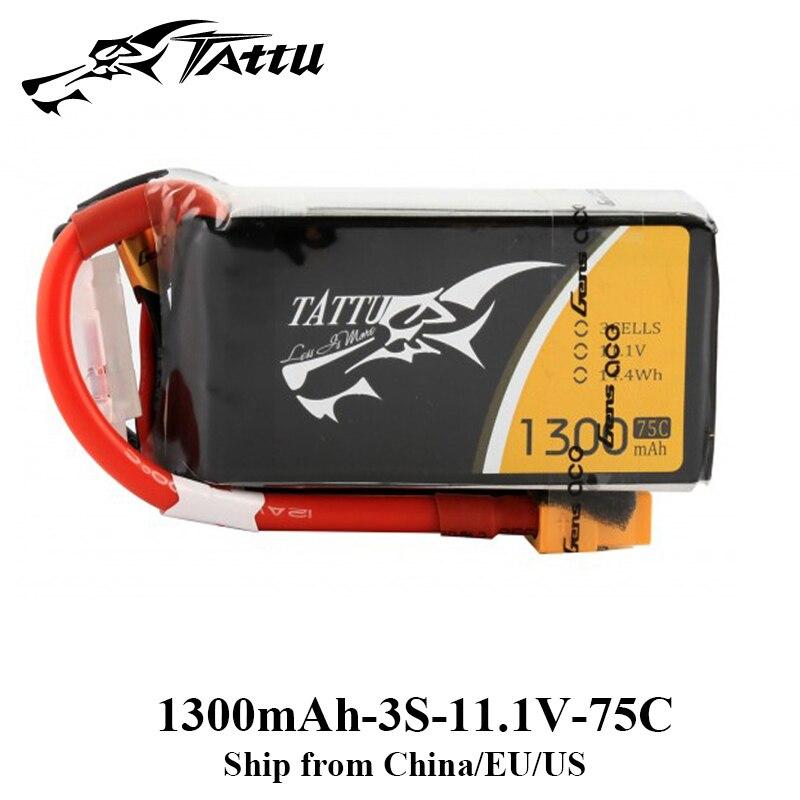 Tattu Lipo Battery 3S 1300mAh Lipo Battery 11.1V FPV Drone 75C XT60 Plug ZMR250 Qav 250 FPV Frame Quadcopter Helicopter Battery цена и фото