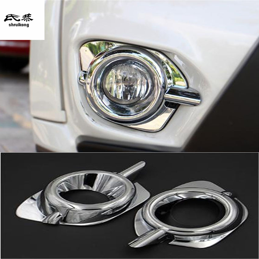 Free shipping 2pcs lot ABS Chrome frong fog lamps decoration cover for 2013 2018 Mitsubishi Pajero