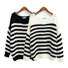 2015 Christmas Sweater Oversize Hollow Out Crocheted Warm Sweaters and Pullovers Loose Winter Striped Knitted Women Sweater