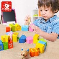 20pcs wooden toy math educational wood block colorful caterpillar digital shape stringing bead game kid gifts