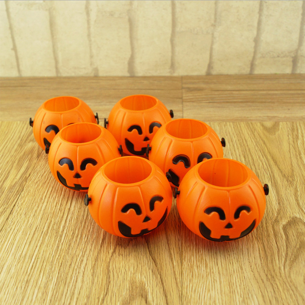 12pcs halloween portable pumpkin bucket children pumpkin candy pail