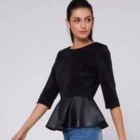 Young17 Autumn Women T Shirt Female Casual PU Leather Patchwork Ruffle T Shirt Tops Slim Women