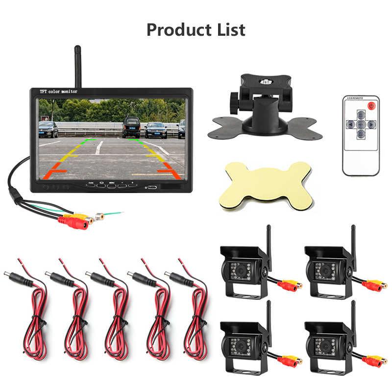 """Jantee 7 """"TFT LCD inalámbrico Monitor de visión trasera del coche Pantalla de asistencia inversa SISTEMA DE Paking de la cámara con 4 cámaras de copia de seguridad para camión"""