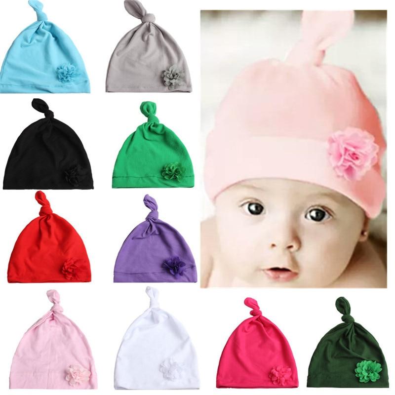 XCQGH Flower Knot Baby Beanie Hat Newborn Toddler Beanie Infant Boys Girls Cotton Knot Sleep Hats