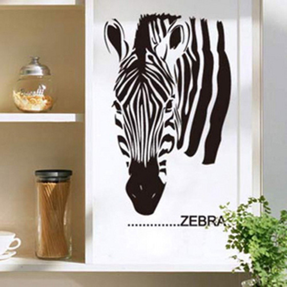New Fashion Zebra Vinyl Wall Decal African Animal Zebra Head Mural Wall Sticker Bar Home Decoration Living Room Bedroom Sticker