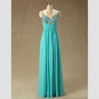 Turquoise Green Empire Vestidos Femininos Vestido De Festa New Long Sleeveless Evening Ball Prom Dress Bridesmaid Dresses Gown