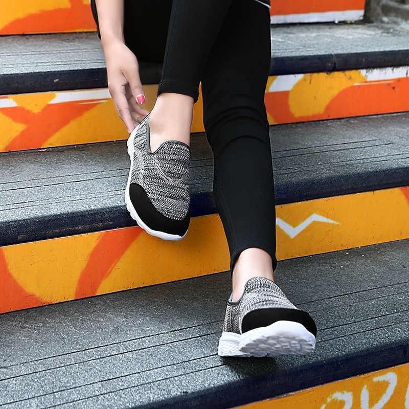 COOTELILI Phụ Nữ Đôi Giày Thể Thao Nền Tảng Giày Thường Phụ Nữ Căn Hộ Trượt trên Splice Giày Đế Phụ Nữ Màu Đen Xám Xanh Cộng Với Kích Thước 40 41 42