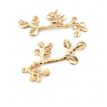 (33518)6PCS 31*18MM 24K Gold Color Brass Tree Branch Charms Pendants High Quality Diy Jewelry Findings Accessories wholesale