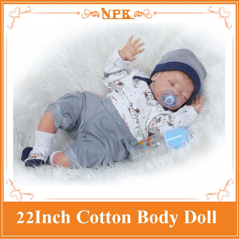 2017 Newest 22Inch Sleeping Silicone Babies Alive Reborn Baby Doll With Soft Body Bebe Toy For Girls Bouquets Kids Birthday Gift 50cm npk soft body silicone bebe reborn doll lovely sleeping babies as kids toys brinquedo fashion birthday gift for baby girls