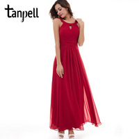 Tanpell Scoop Evening Dress Chiffon Red Sleeveless Ruched Floor Length Dress 2017 Pink Draped Zipper Up