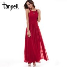 Tanpell scoop aftonklänning chiffong röd ärmlös rynkad golvlängd klänning 2017 rosa draperad dragkedja upp fest långa kvällsklänning