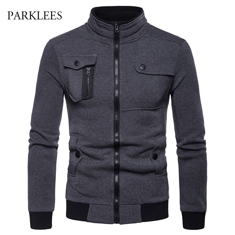 Irregular 4 pocket Designed Jacket Men 2018 Fashion Stand Collar Zipper Cotton Casaco Masculino Casual Hiphop Jackets Coats Mens