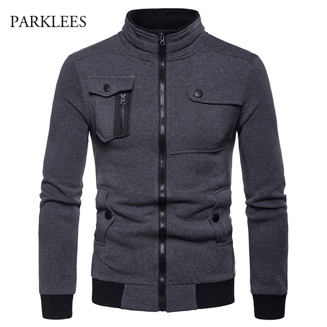 09a4442f2 US $17.84 49% OFF|Irregular 4 pocket Designed Jacket Men 2018 Fashion Stand  Collar Zipper Cotton Casaco Masculino Casual Hiphop Jackets Coats Mens-in  ...