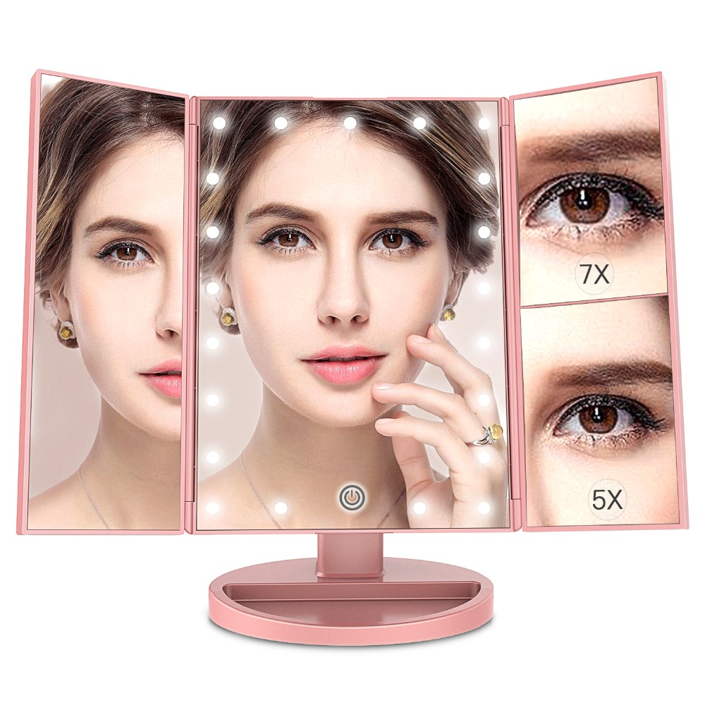 21 LED Lighted Makeup Mirror with 1X/5X/7X Magnification Standing Desktop Cosmetic Mirror Trifold Vanity Mirror Black,White,Rose led amplification desktop cosmetic mirror