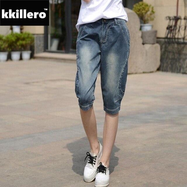 6bc82af574e Harem Denim Capris For Women Full Size 26-32 Summer Style Women s Loose  Knee Length Long Shorts 3D Cutting Short Jeans