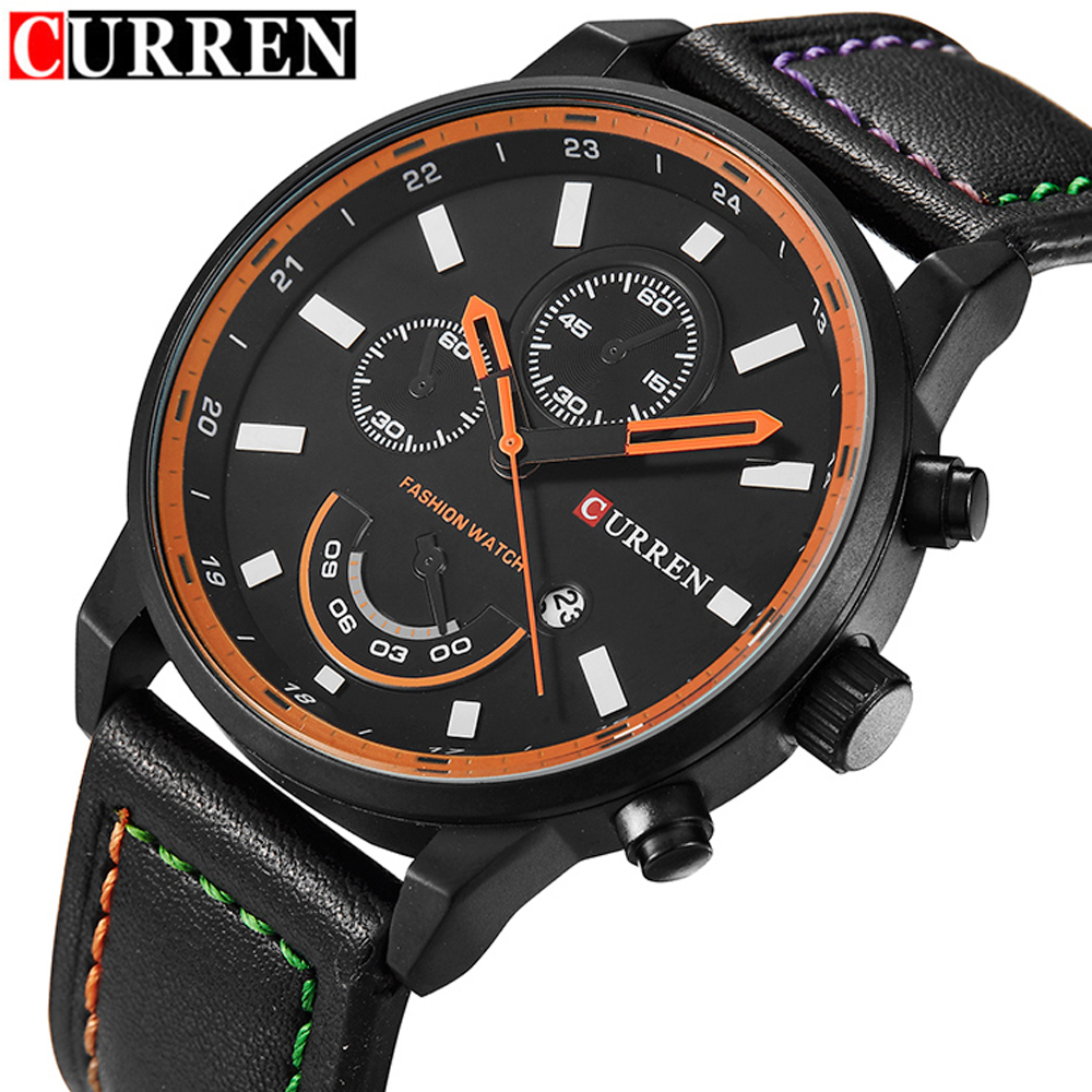 Prix pour 2016 Top Marque De Luxe CURREN Hommes Sport Quartz Waches Hommes de Bracelet En Cuir Date Horloge Mâle Montre-Bracelet Relogio Masculino hombre