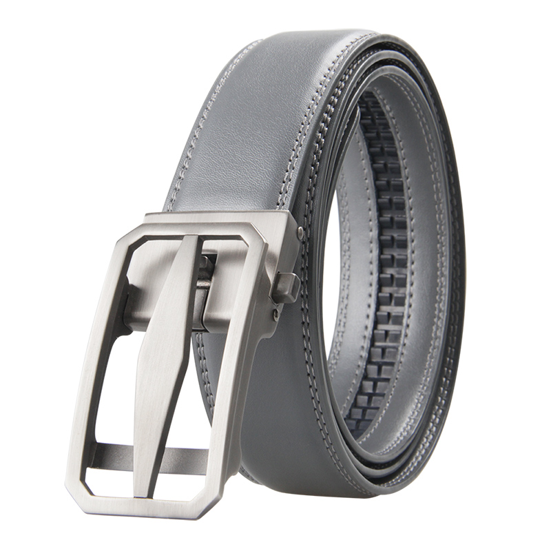 Famous Brand Belt Men Top Quality Genuine Luxury Leather Belts for Men Strap Male Metal Automatic Buckle 3.5cm Gray Belt
