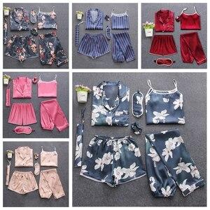 Image 5 - Sexy 7 pieces conjuntos de pijamas primavera ternos de sono feminino macio doce bonito pijamas presente casa roupas das mulheres pijamas pijamas
