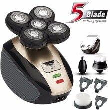 Kit de aseo 5 en 1 para hombre máquina de afeitar eléctrica recargable, afeitadora de cara, Barba, nariz