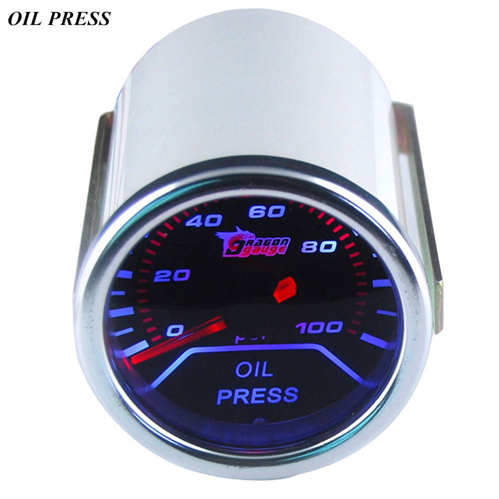 "EE støtte Universal Motor Car Clock Smoke Tint Len 2 ""52mm White Shell Indicator Oljetrykk Gauge Kit Press Meter XY01"