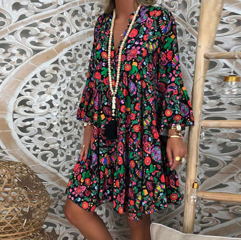 JAYCOSIN 5XL Jurk vrouwen Plus Size zomer jurk Losse Afdrukken Lange Mouwen V-Kraag Knop Mini Strand Jurk vintage vestidos 723