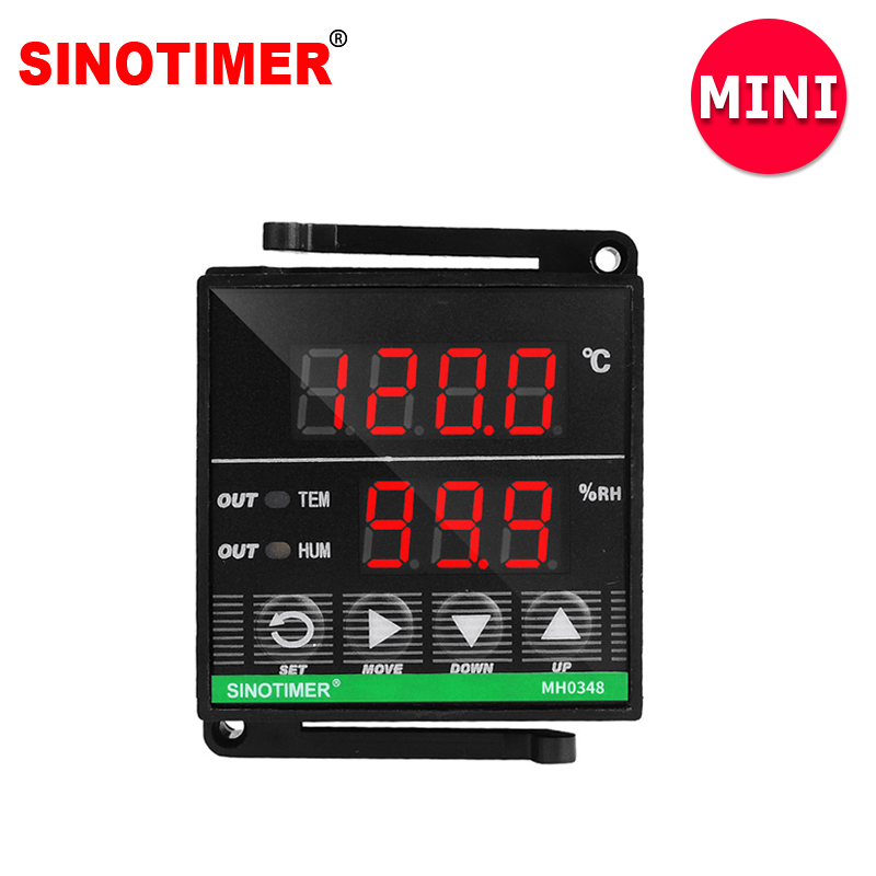 MINI Size Digital temperature Humidity control controller with 3M Cable and Sensor, 1 Temperature and 1 Humidity Relay Output