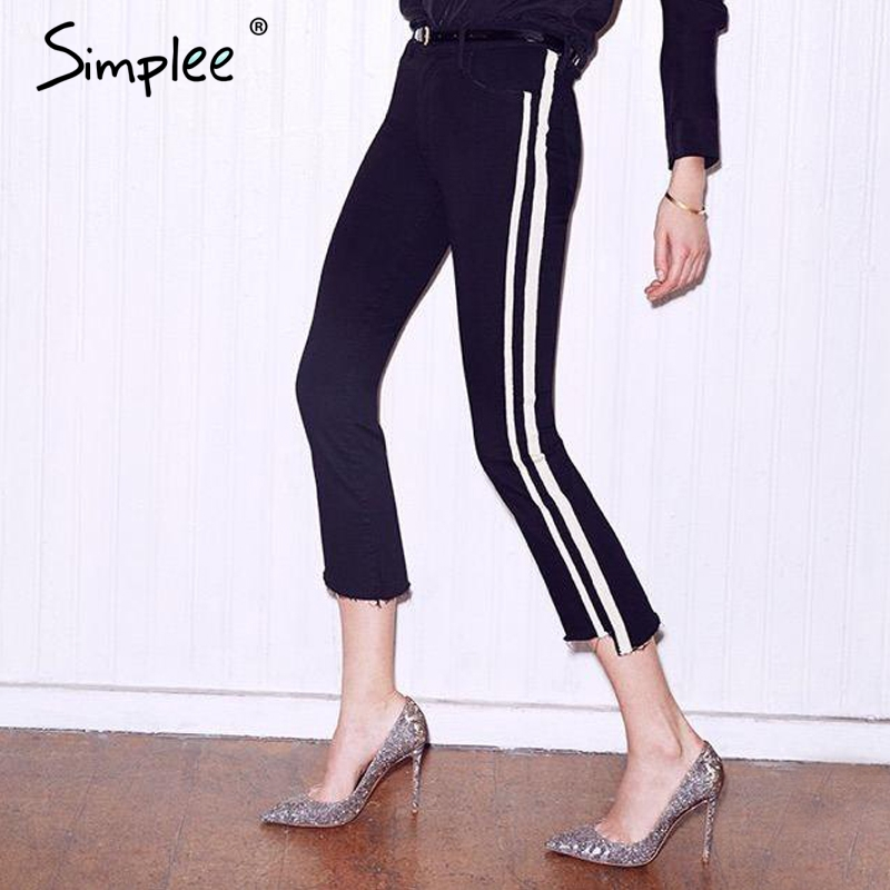 Simplee Denim blue jeans for women bottoms female jeans pants Blue patchwork casual pants capris Pocket red stripe jeans 2017 flower embroidery jeans female blue casual pants capris 2017 spring summer pockets straight jeans women bottom a46