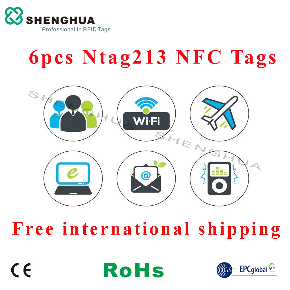 6pcs/pack Programmable Android NFC Tag 13.56MHz HF RFID Passive Adhesive Label Sticker PET Waterproof E Payment NFC Tag