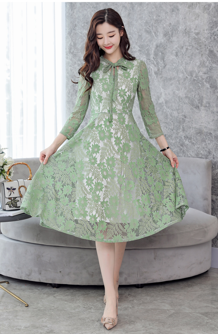 b03a52a06da94 2018 Women Elegant White Lace Dress Female Korean Floral Crochet ...