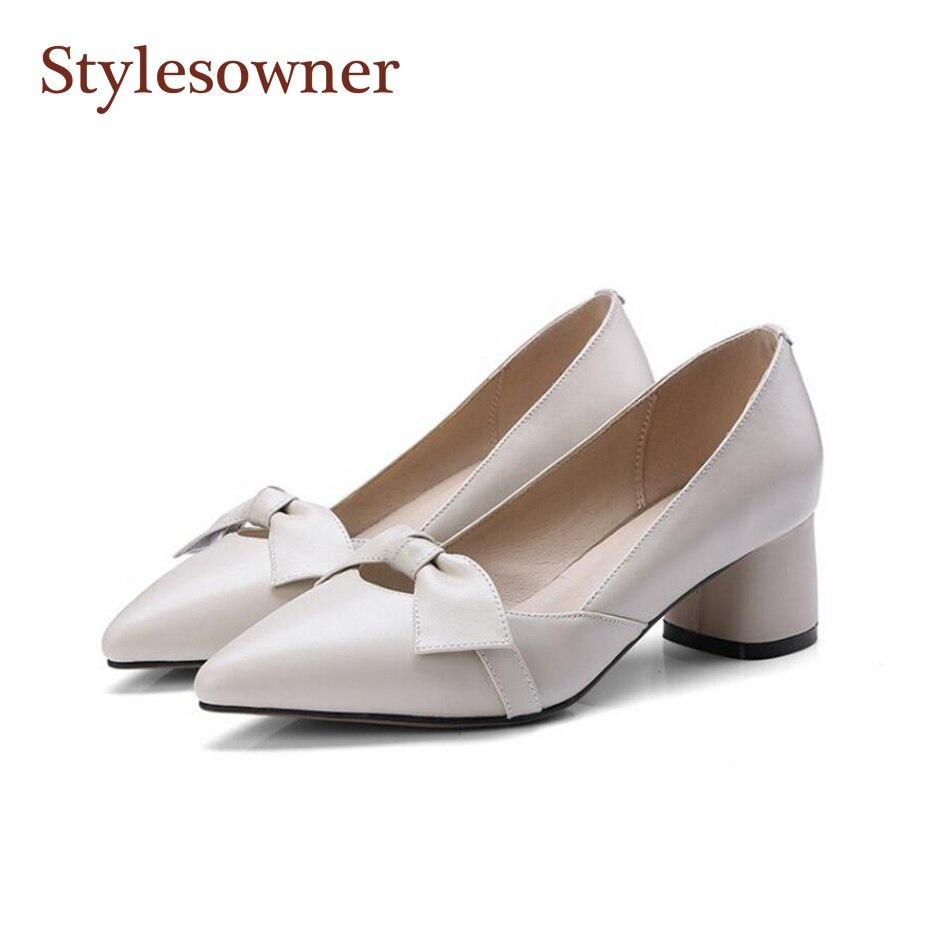 Style propriétaire 2018 rétro mi-talon Mary Janes chaussures Style Simple noeud papillon sans lacet bout pointu belle chaussure bureau dame robe chaussure