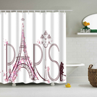 Bathroom Curtains Waterproof Polyester Fabric Shower Curtain Romantic Paris Eiffel Tower/Flower Pattern Bathroom Shower Curtain