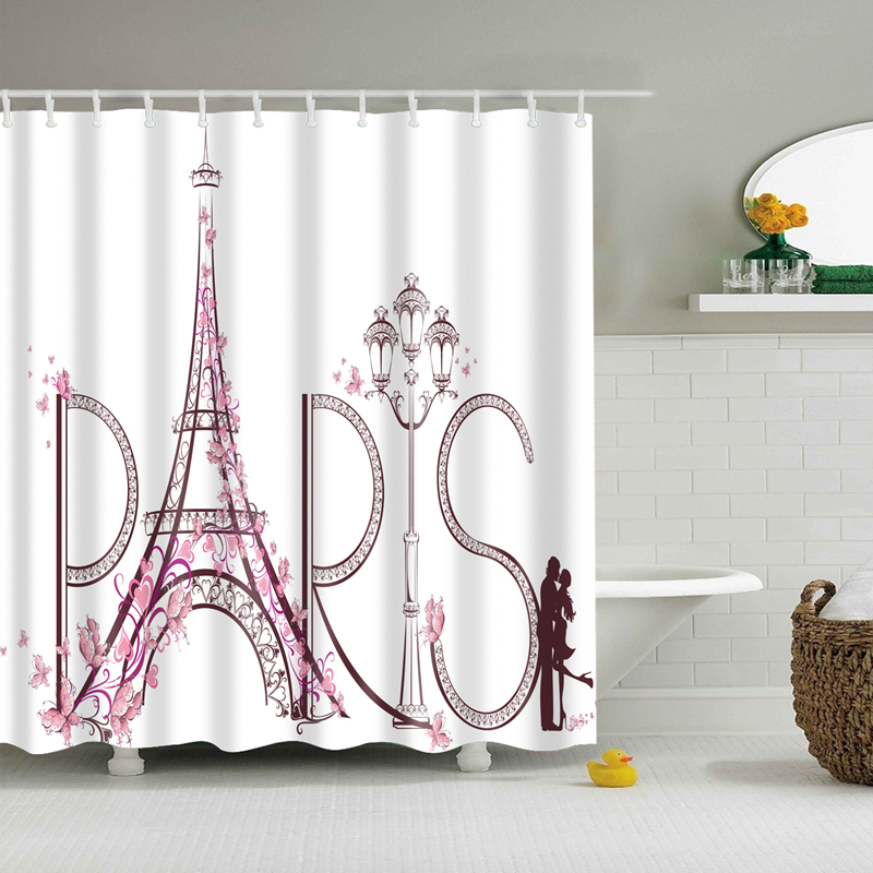 € 10.17 18% de réduction|Rideaux de salle de bain tissu Polyester  imperméable rideau de douche romantique Paris tour Eiffel/fleur modèle  salle de ...