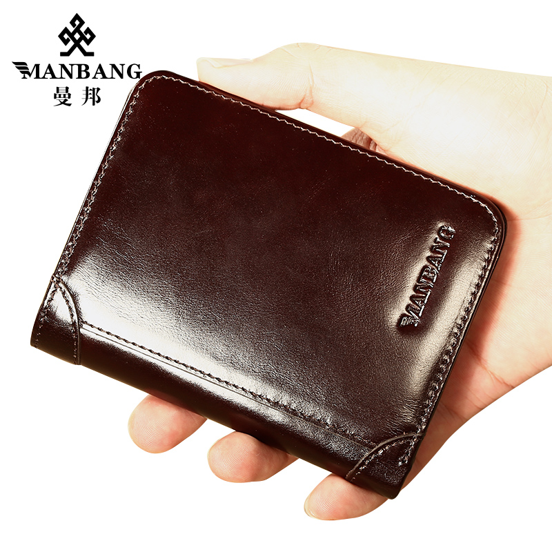 ManBang Genuine Cowhide Leather Men Wallet Trifold Wallets Fashion Design Brand Purse ID Card Holder Purse Gift For Men
