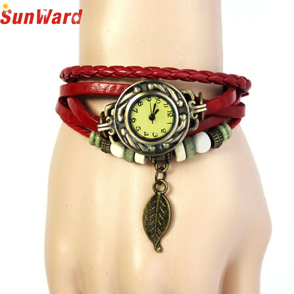 SunWard Wacthes Womens Bracelet Vintage Weave Wrap Quartz Leather Leaf Beads Wristwatches Reloje mujer bayan saat  2017 Hot Sale fantastic 2016 hot sale leaf pendant bracelet leather chain alarm clock analog quartz movement wristwatches free shipping jun 28