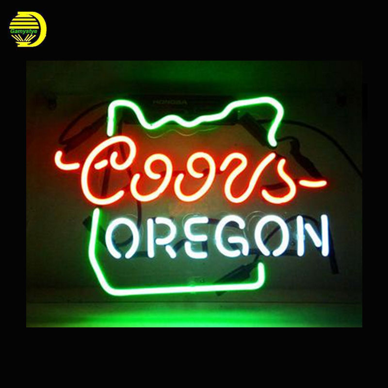 Neon Sign Coors Light OREGON Neon Signs Glass Tubes Neon Bulb Signboard custom lighted with Plastic Board neon lights for sale wild at heart neon sign advertise custom logo neon bulb beer glass tube handcrafted neon glass tubes recreation room lamps 17x14