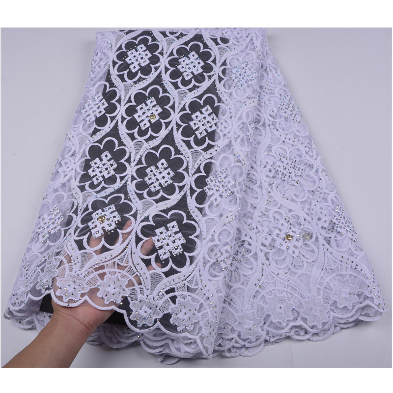 Pure White 2018 African Guipure Cord Lace High Quality Embroidery Stones Cord Lace Guipure Lace For