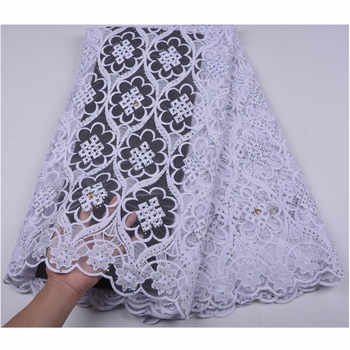 Pure White 2018 African Guipure Cord Lace High Quality Embroidery Stones Cord Lace Guipure Lace For Wedding Party Dress A1257 - DISCOUNT ITEM  34% OFF All Category