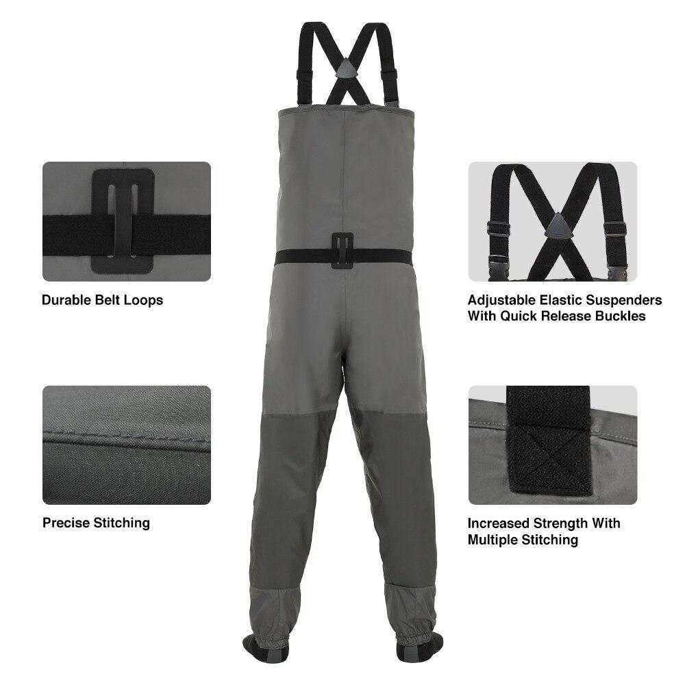 Piscifun 3 couches Polyester respirant imperméable bas pied mouche pêche poitrine cuissardes pantalon pour hommes et femmes avec coque de téléphone - 3