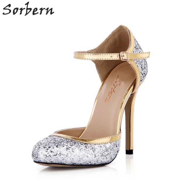 a07e3a0e898 Sorbern Silver Blingbling Sequins Women Pumps Ankle Strap Cute Round Toe  High Heel Shoes Ladies Stilettos Bride Shoes Prom Party