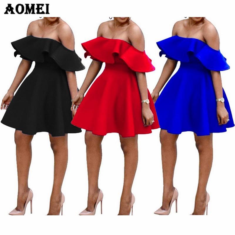 Платье с рюшами и открытыми плечами вечерние Клубные платья с открытой спиной синие красные черные сексуальные платья модные летние платья...
