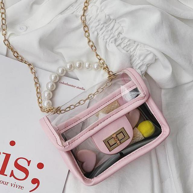 summer Single Shoulder Bag Cute Pearl Transparent Small Square Bag Tide Boys And Girls Mini Crossbody Bag A233