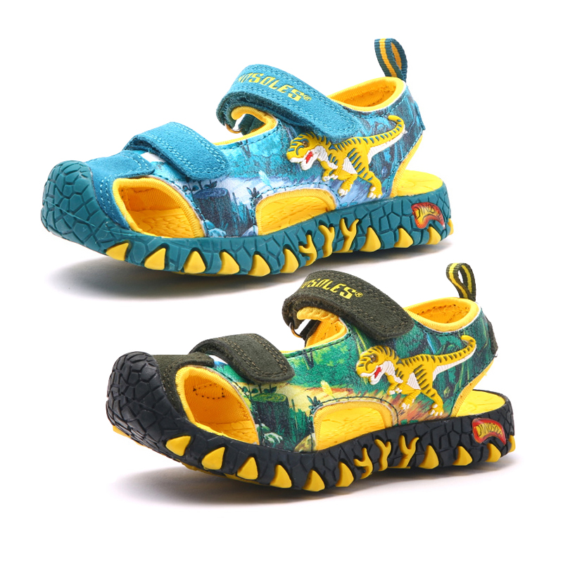2019 Boys Sandals 3D Dinosaur Kids Summer Shoes Anti-Slip Toddler Boy Beach Sandals Anti-impact Toe Casual Children's Shoes