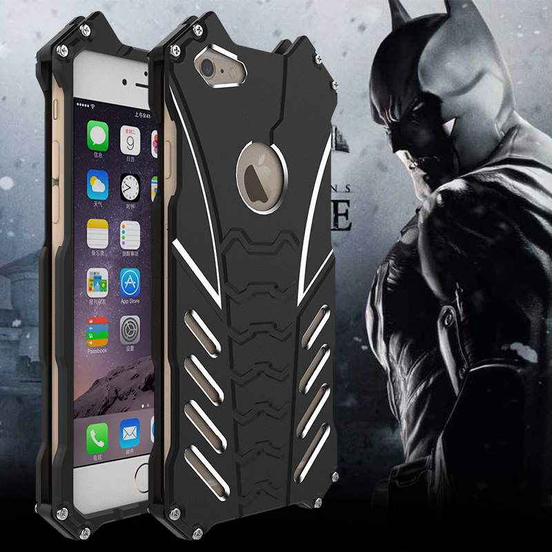 For Iphone 5 C SE 6S 7 Plus Case Armor Heavy Dust Metal Aluminum CNC BATMAN Protect Skeleton Head Phone Shell Case Cover+bracket
