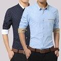 Casual Dot Men Shirt 2017 New Arrival Long Sleeves Printed High quality Fashion Slim Fit Mens Shirts