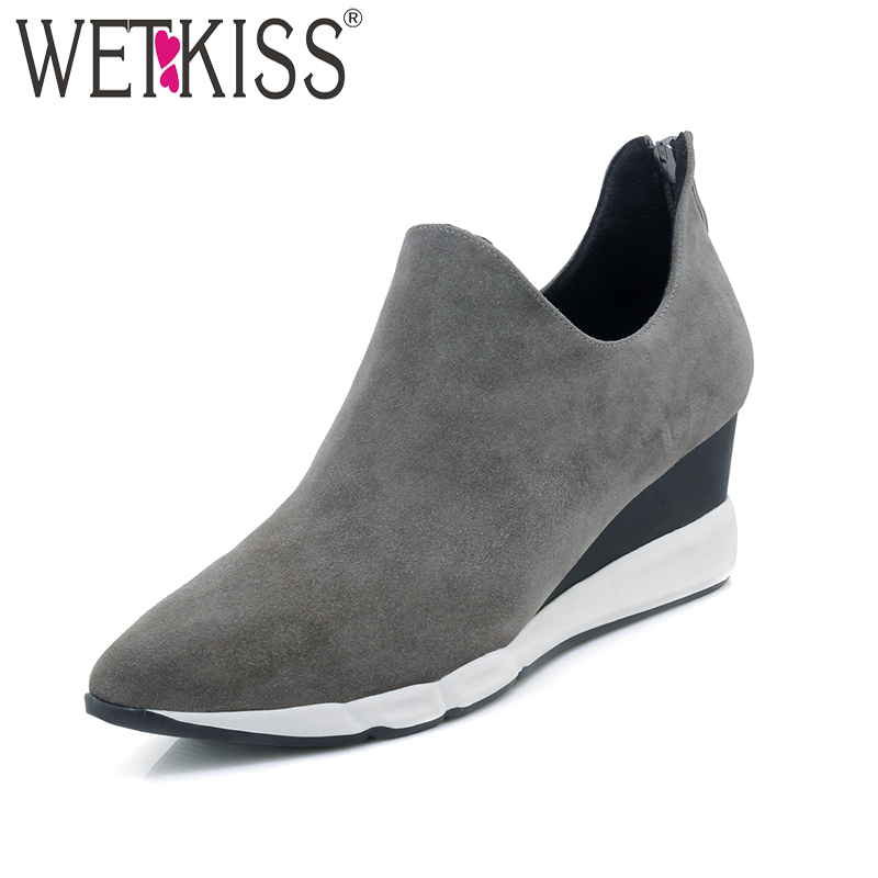 WETKISS 2018 New Wedges Kid Suede Women Pumps Pointed Toe Slip On Zipper Footwear Spring Handmade Fashion Leisure Ladies Shoes new leisure wedges women summer spring lace up fashion footwear female shoes comfortable women pumps ladies casual shoes dt1481