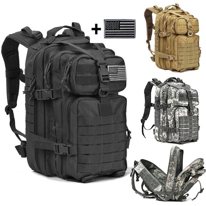 Paquete de asalto táctico militar de 40 L mochila de ejército Molle impermeable Bug Out bolsa pequeña mochila para senderismo al aire libre Camping caza